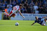 As19` is tackled by Jay Harris of Tranmere Rovers during Stevenage vs Tranmere Rovers, Sky Bet EFL League 2 Football at the Lamex Stadium on 4th August 2018