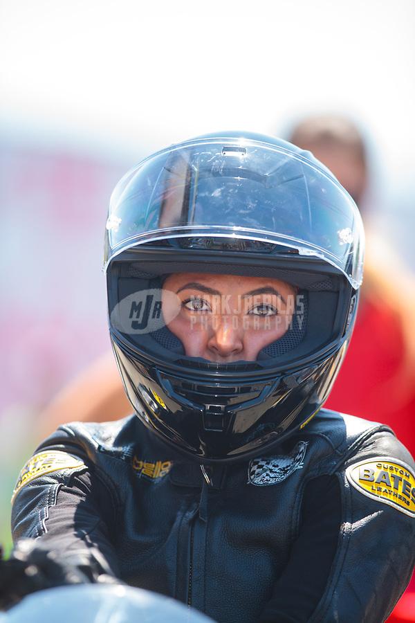 Jul 28, 2019; Sonoma, CA, USA; NHRA pro stock motorcycle rider Jianna Salinas during the Sonoma Nationals at Sonoma Raceway. Mandatory Credit: Mark J. Rebilas-USA TODAY Sports