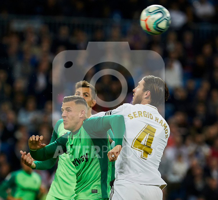 Rodrigues of Real Madrid and Sergio Ramos of CD Leganes during La Liga match between Real Madrid and CD Leganes at Santiago Bernabeu Stadium in Madrid, Spain. October 30, 2019. (ALTERPHOTOS/A. Perez Meca)