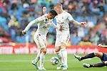 Real Madrid's James Rodriguez (l) and Toni Kroos during La Liga match. September 14,2019. (ALTERPHOTOS/Acero)