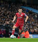 9th January 2018, Etihad Stadium, Manchester, England; Carabao Cup football, semi-final, 1st leg, Manchester City versus Bristol City; Bailey Wright of Bristol City moves the ball forward