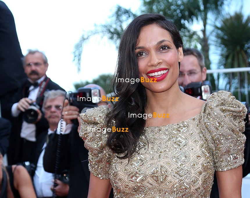 CPE/ Actress Rosario Dawson attends the 'Behind The Candelabra' premiere during The 66th Annual Cannes Film Festival at The 60th Anniversary Theatre on May 21, 2013 in Cannes, France