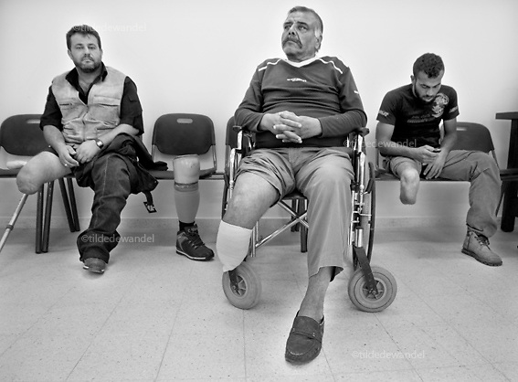 2010 November 1 - Gaza City - Gaza<br /> People whom lost part of their legs during 'Cast Lead', the Israeli attack on Gaza during the winter of 2008-2009, waiting for new protheses.