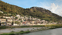 Gorica Quarter and the river Osum in Berat, South-Central Albania, capital of the District of Berat and the County of Berat. In July 2008, the old town (Mangalem district) was listed as a UNESCO World Heritage Site. Picture by Manuel Cohen