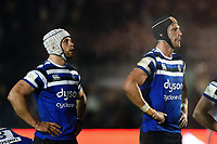 Dave Attwood and Luke Charteris of Bath Rugby. Premiership Rugby Cup match, between Bath Rugby and Gloucester Rugby on February 3, 2019 at the Recreation Ground in Bath, England. Photo by: Patrick Khachfe / Onside Images