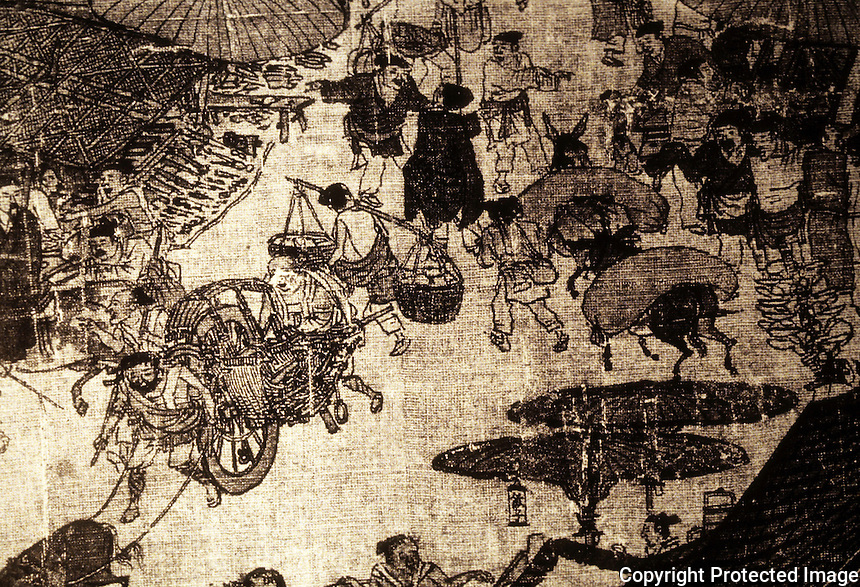 Chinese Painting:  1.  River Scene during Ching Ming Festival--Northern Song c. 1125 A.D.  Painted by Zhang Zequan. Townsfolk  leaving the Capital for the countryside. Note--wheelbarrow.