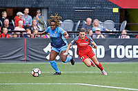 Portland, OR - Saturday June 17, 2017: Kayla Mills, Hayley Raso during a regular season National Women's Soccer League (NWSL) match between the Portland Thorns FC and Sky Blue FC at Providence Park.