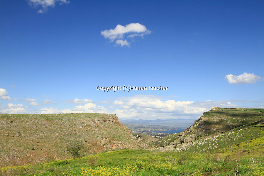 Israel, Galilee, Arbel Cliff on the right and Mount Nitai overlooking the Sea of Galilee