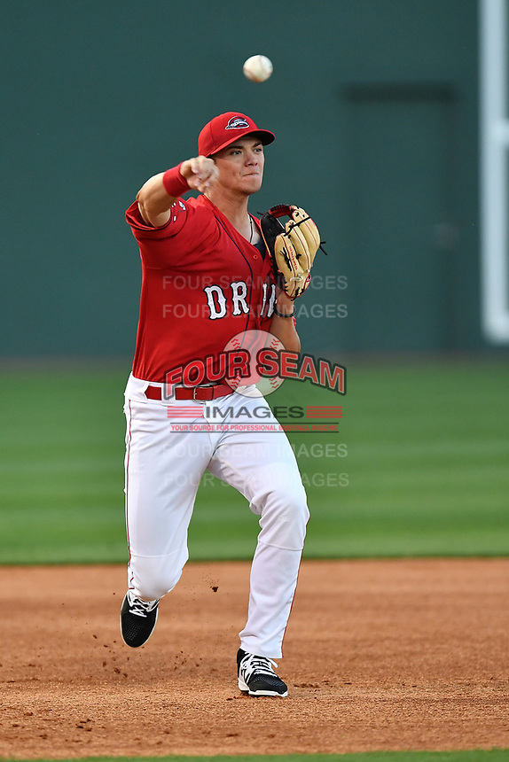 Third baseman Bobby Dalbec (23) of the Greenville Drive at the team's first workout of the season on Tuesday, April 4, 2017, at Fluor Field at the West End in Greenville, South Carolina. (Tom Priddy/Four Seam Images)