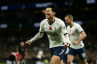 9th November 2019; Tottenham Hotspur Stadium, London, England; English Premier League Football, Tottenham Hotspur versus Sheffield United; Son Heung-Min of Tottenham celebrates as he scores for 1-0 in the 58th minute - Strictly Editorial Use Only. No use with unauthorized audio, video, data, fixture lists, club/league logos or 'live' services. Online in-match use limited to 120 images, no video emulation. No use in betting, games or single club/league/player publications