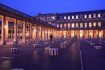 The night view of Colonnes de Buren aka Les Deux Plateaux by artist Daniel Buren in courtyard of Palais Royal. Paris. city of Paris. France