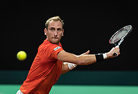 The Hague, The Netherlands, September 15, 2017,  Sportcampus , Davis Cup Netherlands - Chech Republic, First rubber: Thiemo de Bakker (NED)<br /> Photo: Tennisimages/Henk Koster