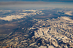 Aerial view over mountains and valleys in winter in the Great Basin, Nevada