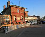 exterior of railway train station building, Woodbridge, Suffolk, England, UK