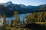Overlooking the alpine forest and mountains above Suzie Lake, Desolation Wilderness, High Sierra, California