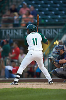Dwanya Williams-Sutton (11) of the Fort Wayne TinCaps at bat against the Bowling Green Hot Rods at Parkview Field on August 20, 2019 in Fort Wayne, Indiana. The Hot Rods defeated the TinCaps 6-5. (Brian Westerholt/Four Seam Images)