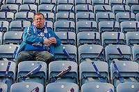 LEICESTER, ENGLAND - APRIL 18:  A Leicester city Fan looks on after arriving early prior to the Premier League match between Leicester City and Swansea City at The King Power Stadium on April 18, 2015 in Leicester, England.  (Photo by Athena Pictures/Getty Images)