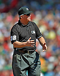 10 June 2012: Third base umpire Dana DeMuth explains a call during a game between the Washington Nationals and the Boston Red Sox at Fenway Park in Boston, MA. The Nationals defeated the Red Sox 4-3 to sweep their 3-game interleague series. Mandatory Credit: Ed Wolfstein Photo