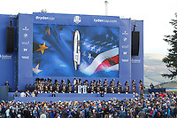 The &quot;Ryder Cup&quot; arrives on stage during the Sunday Singles Matches of the Ryder Cup at Gleneagles Golf Club on Sunday 28th September 2014.<br />