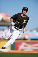 Pittsburgh Pirates center fielder Adam Frazier (73) running the bases during a Spring Training game against the Boston Red Sox on March 9, 2016 at McKechnie Field in Bradenton, Florida.  Boston defeated Pittsburgh 6-2.  (Mike Janes/Four Seam Images)