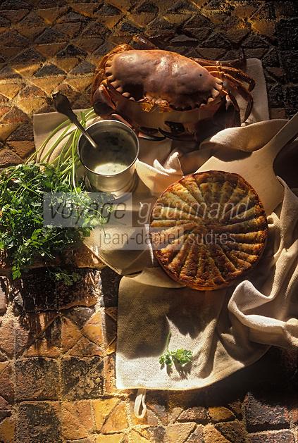 """Europe/France/Bretagne/56/Morbihan/Port Navalo: Saint Colombier: Galette de Tourteau recette du restaurant """"Le Tournepierre"""" à Saint-Colombier"""""""