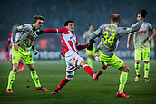 7th December 2017, Rajko Mitic Stadium, Belgrade, Serbia, UEFA Europa League football, Red Star Belgrade versus FC Cologne; Midfielder Slavoljub Srnic of Red Star Belgrade in action against Defender Konstantin Rausch of FC Koeln