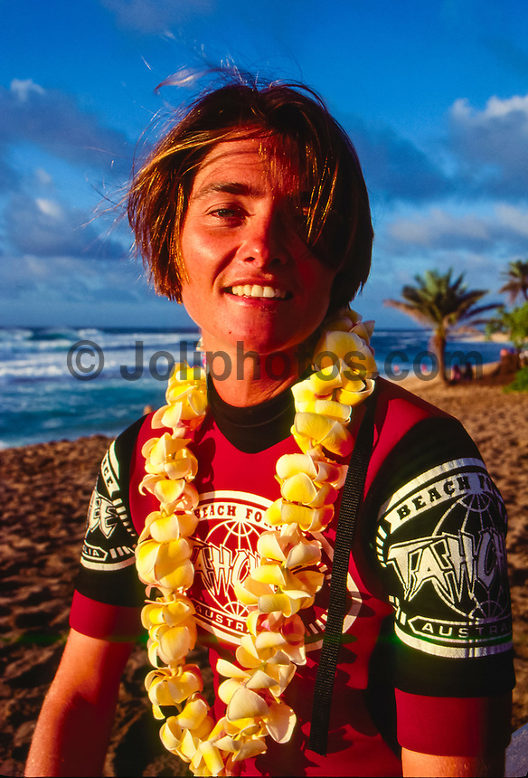 North Shore, Oahu, Hawaii ( December 1993) –  Jodie Cooper (AUS) after winning the World Cup of Surfing being run at Sunset Beach as part of the Vans Triple Crown of Surfing. Photo: joliphotos.com