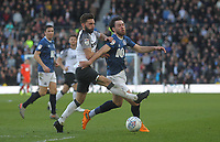 Blackburn Rovers Ben Brereton  in action with Derby County's Graeme Shinnie<br /> <br /> Photographer Mick Walker/CameraSport<br /> <br /> The EFL Sky Bet Championship - Derby County v Blackburn Rovers - Sunday 8th March 2020  - Pride Park - Derby<br /> <br /> World Copyright © 2020 CameraSport. All rights reserved. 43 Linden Ave. Countesthorpe. Leicester. England. LE8 5PG - Tel: +44 (0) 116 277 4147 - admin@camerasport.com - www.camerasport.com