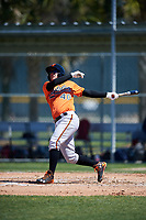 Baltimore Orioles designated hitter Dariel Alvarez (40) follows through on a swing during a minor league Spring Training game against the Boston Red Sox on March 16, 2017 at the Buck O'Neil Baseball Complex in Sarasota, Florida.  (Mike Janes/Four Seam Images)