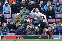 Jack Marriott of Peterborough United celebrates scoring to make it 2-0 during the Sky Bet League 1 match between Bradford City and Peterborough at the Northern Commercial Stadium, Bradford, England on 26 December 2017. Photo by Thomas Gadd.