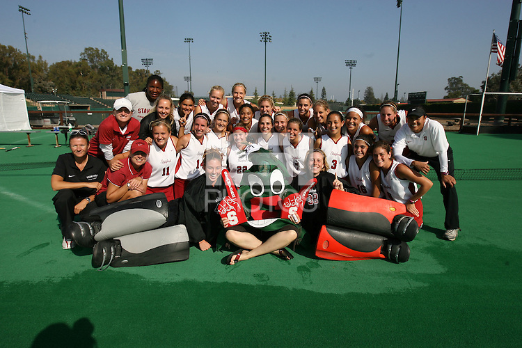 6 November 2007: Stanford Cardinal assistant coach Jordan Marotta, assistant coach Mandy Hart, strength & conditioning coach Dena Floyd, athletic trainer Christina Puno, Camille Gandhi, Midori Uehara, Jaimee Erickson, Nora Soza, Jess Zutz, Rachel Mozenter, Hillary Braun, Xanthe Travlos, Jennifer Luther, Bailey Richardson, Heather Alcorn, Lisa Maffucci, Katherine Swank, Chloe Bade, Caroline Hussey, Marlana Shile, Rachel Bush, Katherine Donner, Annika Alexander-Ozinskas, Madison Bell, Alessandra Moss, Julia Druce during Stanford's 1-0 win against the Lock Haven Lady Eagles in an NCAA play-in game to advance to the NCAA tournament at the Varsity Field Hockey Turf in Stanford, CA.
