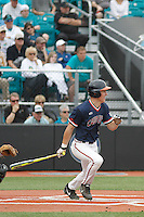 University of Virginia Cavaliers left fielder Jake McCarthy (31) at bat during a game against the University of Coastal Carolina Chanticleers at Springs Brooks Stadium on February 21, 2016 in Conway, South Carolina. Coastal Carolina defeated Virginia 5-4. (Robert Gurganus/Four Seam Images)