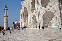 Agra, India.  Taj Mahal, showing main entrance into the mausoleum.