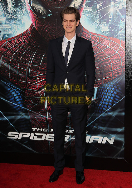 "Andrew Garfield.Los Angeles Premiere Of ""The Amazing Spider-Man"" Held The at Regency Village Theatre, Westwood, California, USA..June 28th, 2012.full length black suit white shirt hands in pockets .CAP/ADM/FS.©Faye Sadou/AdMedia/Capital Pictures."
