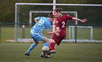 Beker van Belgie Vrouwen <br /> 1/2 finale : SV Zulte Waregem - AA Gent Ladies :<br /> Elke Van Gorp (L) draait voorbij Jolien Badie (R)<br /> <br /> Foto VDB / Bart Vandenbroucke