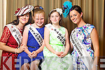 Queensland Rose Sorcha Holmes pictured with her Rosebud Anna Coolahan and Dubai Rose Caroline Callaghan pictured with her Rosebud Sarah Rose Doherty at the Carlton Hotel at the Rose of Tralee on Friday.