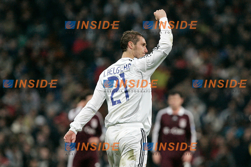 Real Madrid's Ivan Helguera celebrates during UEFA Champions League match at Santiago Bernabeu stadium in Madrid, Tuesday February 20, 2007. (ALTERPHOTOS/Alvaro Hernandez).