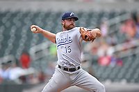 ***Temporary Unedited Reference File***Pensacola Blue Wahoos relief pitcher Barrett Astin (15) during a game against the Birmingham Barons on May 2, 2016 at Regions Field in Birmingham, Alabama.  Pensacola defeated Birmingham 6-3.  (Mike Janes/Four Seam Images)