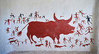 Recontructed fresco of an original found at Catalhoyuk. The men are hunting a boar. The hunters are believed by scholors to be wearing leopard skin costumes, Painted by Mutlu Gundiler. Reconstructed houses, Catalyhoyuk Archaeological Site, Çumra, Konya, Turkey