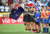 27th January 2019, Hamilton, New Zealand; New Zealand team line up for the national anthem before their finals against France during Day 2 of the Womens's Fast Four Tournament 2019, FMG Stadium Waikato,Hamilton