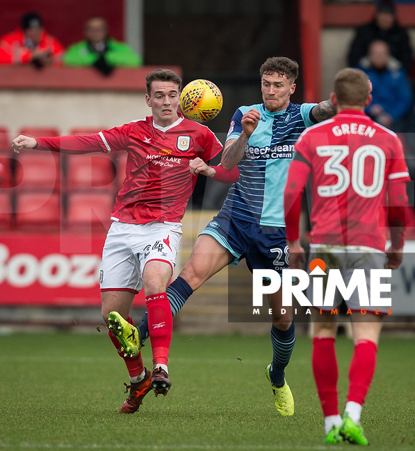 Lewis Reilly of Crewe Alexandra & Dan Scarr of Wycombe Wanderers during the Sky Bet League 2 match between Wycombe Wanderers and Crewe Alexandra at Adams Park, High Wycombe, England on 20 January 2018. Photo by Andy Rowland / PRiME Media Images.