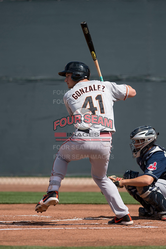 San Francisco Giants third baseman Jacob Gonzalez (41) at bat during a Minor League Spring Training game against the Cleveland Indians at the San Francisco Giants Training Complex on March 14, 2018 in Scottsdale, Arizona. (Zachary Lucy/Four Seam Images)