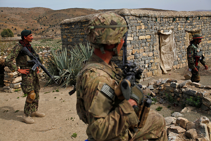 Members of the Afghan National Army took part in a joint 4-day mission with members of 3rd Platoon, Comanche Company 1st of the 501st. Parachute Infantry Regiment out of Fort Richardson Alaska in the mountains that overlook the border with Pakistan. The purpose of the mission was to survey the area for possible insurgency activity as well as to search surrounding villages for possible weapons caches. Members of the Afghan National Army led the search for weapons in the surrounding  villages.