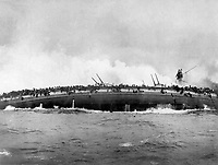 Sinking of the German Cruiser Bluecher, in the naval enagement between German and British dreadnoughts in the North Sea, on Jan. 24, 1915.  This photo was taken from the deck of the British Cruiser Arethusia.  IFS. (War Dept.)<br />