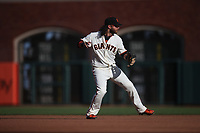 SAN FRANCISCO, CA - AUGUST 11:  Brandon Crawford #35 of the San Francisco Giants makes a play at shortstop against the Philadelphia Phillies during the game at Oracle Park on Sunday, August 11, 2019 in San Francisco, California. (Photo by Brad Mangin)