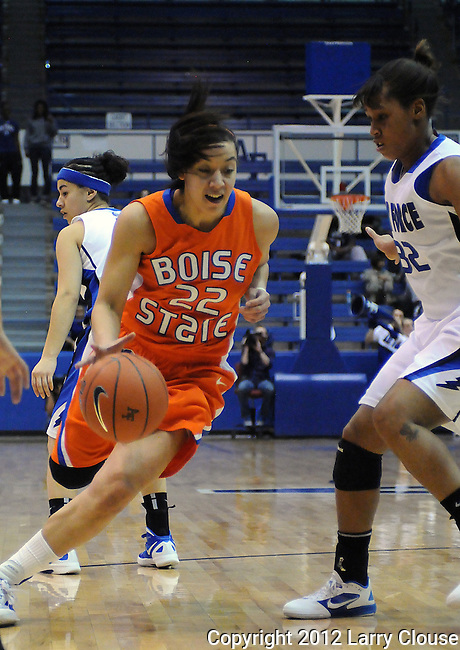 January 14, 2012:  Boise State guard, Julia Marshall (22), in action during a Mountain West Conference match-up between the Boise State Broncos and the Air Force Academy Falcons at Clune Arena, U.S. Air Force Academy, Colorado Springs, CO.  Boise State defeats Air Force 81-75.