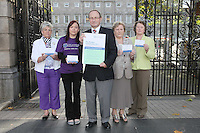 NO REPRO FEE. 7/10/2010. ALZHEIMER SOCIETY PRE-BUDGET SUBMISSION.  L-R Alzheimer Society of Ireland supporters Ann-Marie Russell, Chairperson of the Meath Branch, Avril Dooly Alzheimer society supporter, Alzheimer Society of Ireland CEO Maurice O'Connell, carer Marjorie Dowling from Dublin and Mary Dwan volunteer. They took to the gates of the Dail during the launch of the charity's Pre-Budget Submission to call on the Government to help  the tens of thousands of people living with dementia in Ireland and their carers. The Alzheimer Society of Ireland has warned the Government that further funding cuts to its services in the coming Budget will see some of the 44,000 people living with dementia and their 50,000 carers left without even basic support though community services. The charity made its call at the launch of its Pre-Budget Submission 2011 as it revealed that many carers are now at crisis point as figures show waiting lists for dementia services have shot up by 33% in the last year.  Picture James Horan/Collins Photos