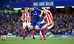 Alvaro Morata of Chelsea is challenged by Kevin Wimmer of Stoke City during the premier league match at Stamford Bridge Stadium, London. Picture date 30th December 2017. Picture credit should read: Robin Parker/Sportimage