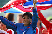 Jubilent Korean player HONG Myong Hui. USA v Korea Republic. FIFA U-17 Women's World Cup Final. North Harbour Stadium, Auckland, Sunday 16 October 2008. Photo: Simon Watts/PHOTOSPORT