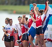 Sarasota. Florida USA.  Gold Medalist NED W4X. jump on the awards dock. 2017 World Rowing Championships, Nathan Benderson Park<br /> <br /> Saturday  30.09.17   <br /> <br /> [Mandatory Credit. Peter SPURRIER/Intersport Images].<br /> <br /> <br /> NIKON CORPORATION -  NIKON D4S  lens  VR 500mm f/4G IF-ED mm. 200 ISO 1/1600/sec. f 4